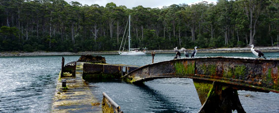 Anchoring at Fortescue Bay