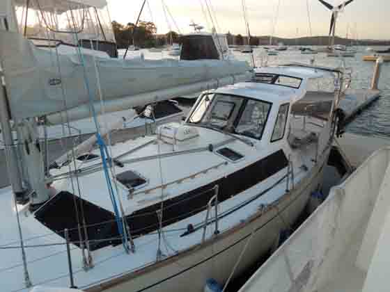 """After"" showing new GRP non skid deck and hard dodger/bimini"